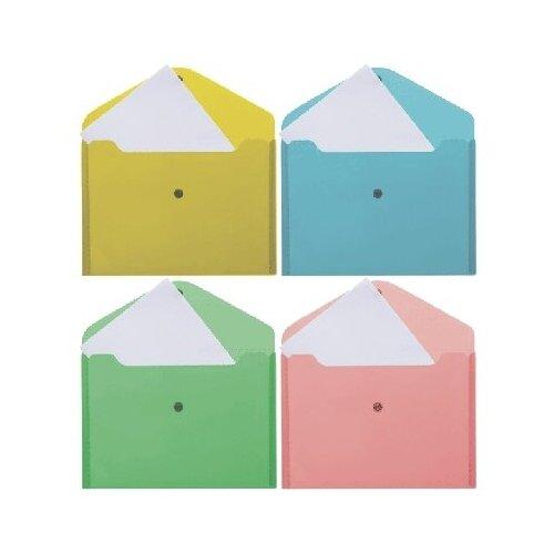 Папка-конверт на кнопке de VENTE В5 209х282мм 180мкм непрозр.цв.ассорти 3071814