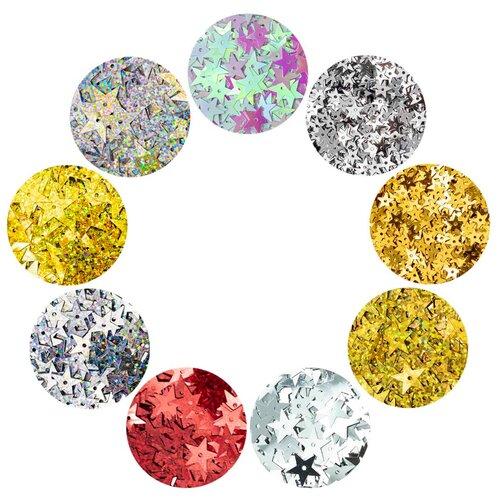 Большой набор пайеток звездочек 7-20мм, 9 цветов по 10гр, Астра
