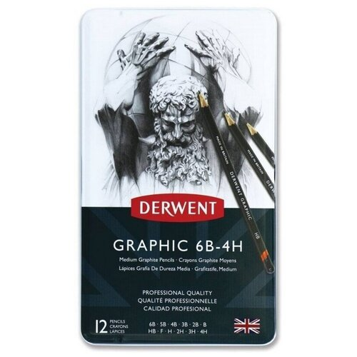Купить Карандаши чернографитные Derwent Grathic Medium 12 штук, 6B-4H, металлическая коробка (34214)