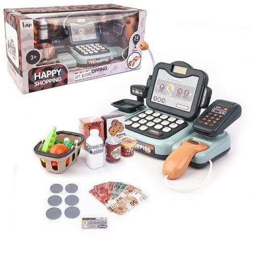 Детская касса с весами, сканером, терминалом и корзиной; со звуком, 24 предмета, Play Smart, Играем в магазин  - купить со скидкой