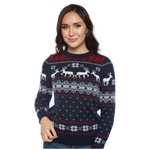 Шерстяной свитер, классический скандинавский орнамент с Оленями и снежинками, натуральная шерсть, синий цвет, размер XS
