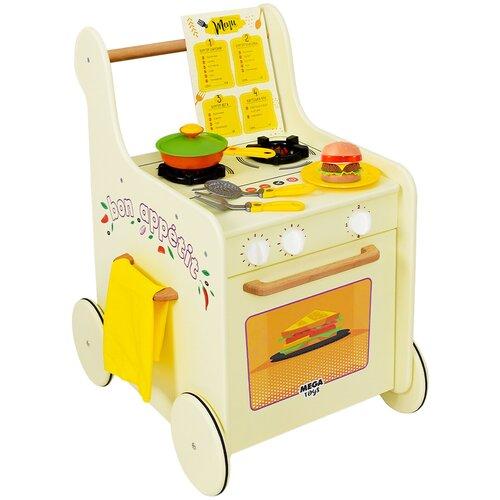 Игровой центр деревянная кухня детская игровая для девочек и мальчиков Мега Тойс Grill Master игровой комплекс / ходунки детские / каталка детская с ручкой / тележка детская