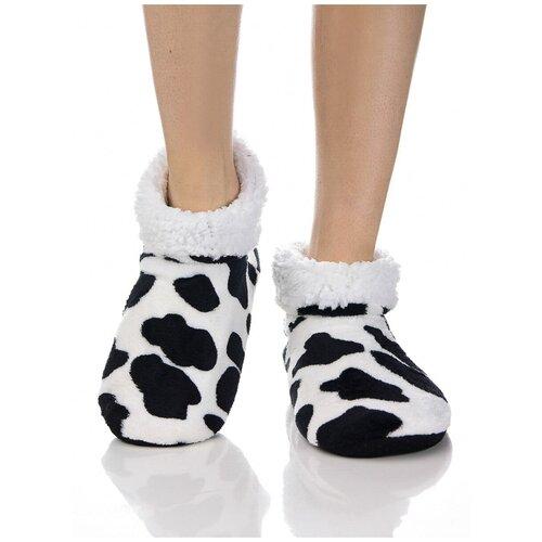Плюшевые носки домашние, коровий принт, противоскользящая подошва, внутренний подклад из искусственного меха, белый-черный цвет, размер 35-37