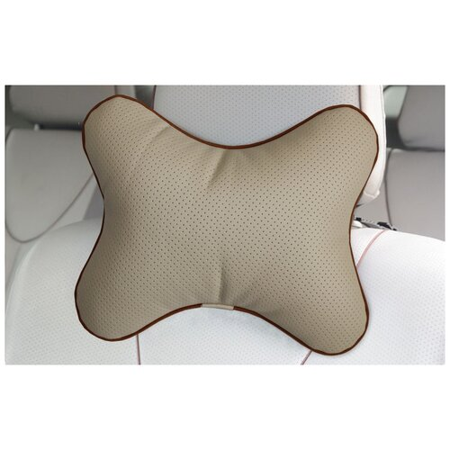 Подушка на подголовник автомобильного кресла в машину матех эконом бежевый, для поддержки головы, 30х23 см