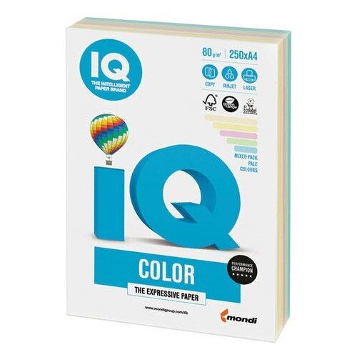 Фото - Бумага цветная IQ color, А4, 80 г/м2, 250 л., (5 цветов x 50 листов), микс пастель, RB01 бумага цветная iq color а4 160 г м2 100 л 5 цветов x 20 листов микс интенсив rb02