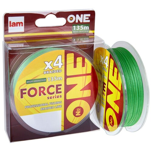 Плетеный шнур Number ONE Force 4X-135 Bright-green 0.10mm