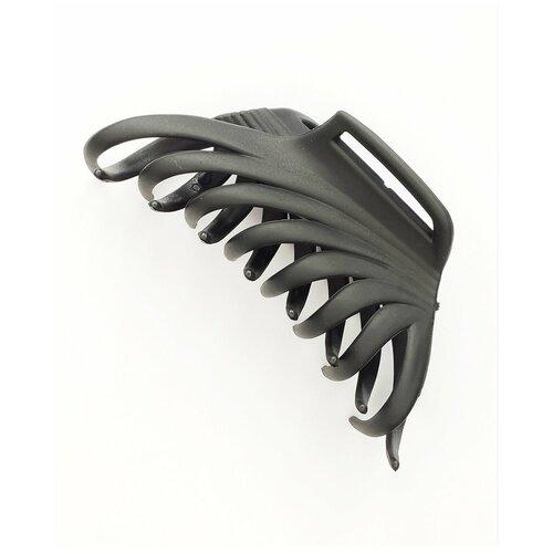 Купить Заколка- краб для волос, однотонный, черный, 1шт., Fashion jewelry