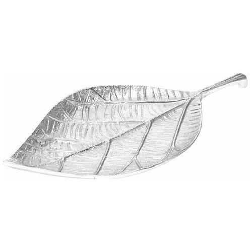 Тарелка декоративная Лист (хром)