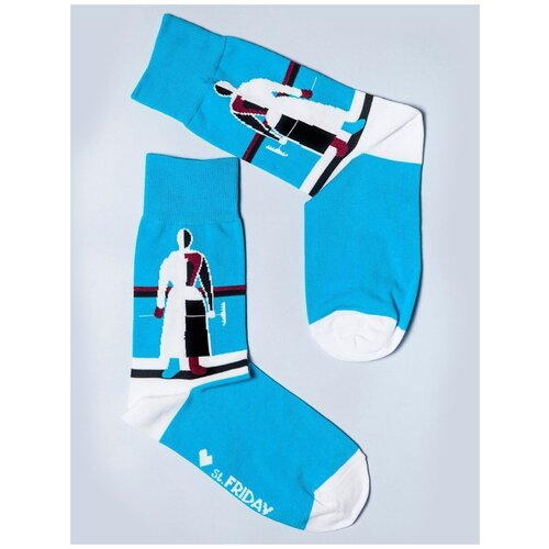 Носки St. Friday Женщина с граблями, размер 38-41, голубой