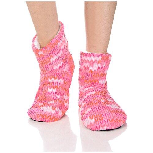 Плюшевые носки домашние с вязаным узором, противоскользящая подошва, внутренний подклад из искусственного меха, розовый цвет, размер 35-37