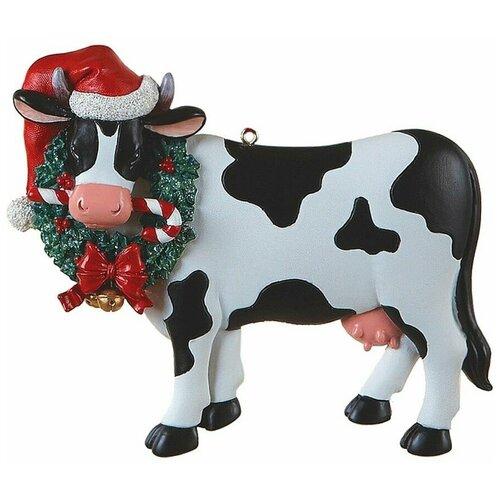 Фото - Ёлочная игрушка новогодняя коровка с венком, полистоун, 10.5 см, Kurts Adler ёлочная игрушка кошечка делфтский фарфор 10 см разные модели kurts adler j0936