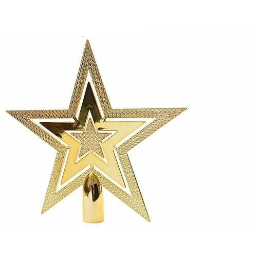 Верхушка елочная из пластика сверкающая звезда, золотая, пластик, 20 см, Kaemingk 029996
