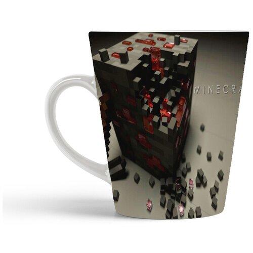 Кружка-латте CoolPodarok Minecraft Майнкрафт (разбитый кубик)