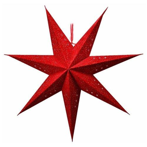 Подвесная звезда плафон SOFT MAGIC, хлопковая бумага, красная, 60 см, патрон Е14, Kaemingk 484563