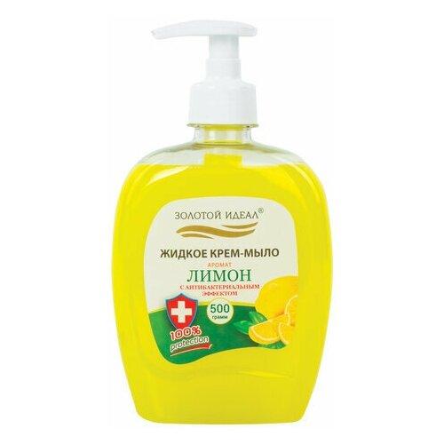 Купить Мыло-крем жидкое 500 г золотой идеал Лимон , с антибактериальным эффектом, дозатор, 606786, Золотой идеал