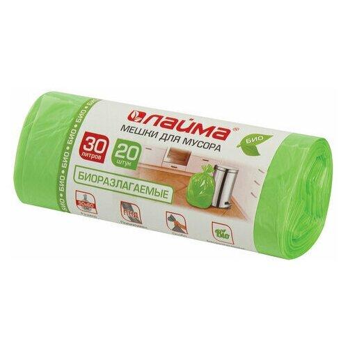 Фото - Мешки для мусора биоразлагаемые 30 л зеленые в рулоне 20 шт. прочные, ПНД 10 мкм, 50х60 см, LAIMA, 601400 мешки для раздельного сбора мусора 60 л зеленые в рулоне 20 шт пнд 10 мкм 58х68 см laima 606704 3835