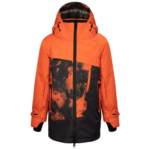 Куртка Oldos Ирвин размер 122, черный/томатный, Куртки и пуховики  - купить со скидкой