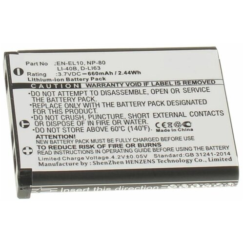 Аккумуляторная батарея iBatt 660mAh для Casio Exilim EX-ZS6, для Nikon Coolpix S3000, Coolpix S5100, Coolpix S4000, Coolpix S230, Coolpix S500, Coolpix S203