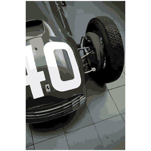 Купить Картина по номерам ЧБ Ferrari, 30 х 40 см, Красиво Красим, Картины по номерам и контурам