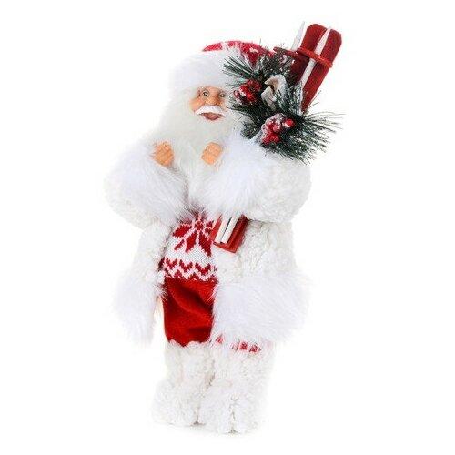 Мягкая игрушка Дед Мороз в свитере со снежинкой и лыжами, 48 см фигурка maxitoys дед мороз в свитере со снежинкой и лыжами 32 см белый