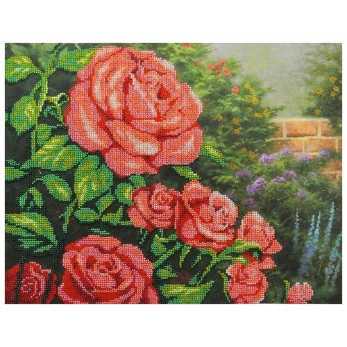 Красные розы набор габардин+бисер 28х35 МП-Студия БГ-231 28х35 МП-Студия БГ-231