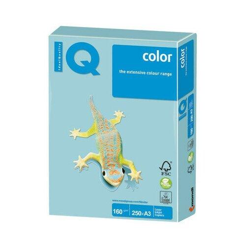 Бумага цветная IQ color большой формат (297х420 мм), А3, 160 г/м2, 250 л., пастель, голубая, MB30