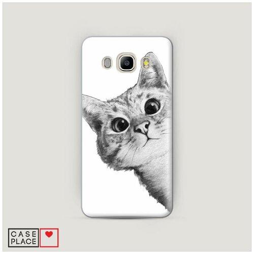 Чехол Пластиковый Samsung Galaxy J7 2016 Кот рисунок черно-белый