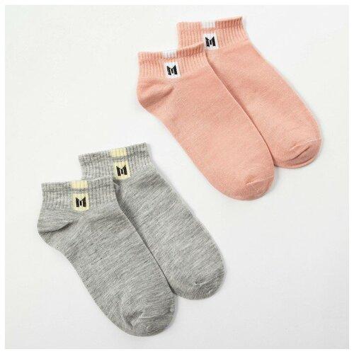 Купить Носки Minaku комплект 2 пары размер 22-24 см (35-38), розовый/серый