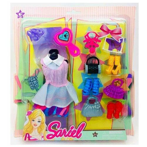 Набор аксессуаров одежда для кукол на листе 3315-A Sariel, платье, обувь, сумочки, очки, ожерелье, расческа, 28х25х2.5 см
