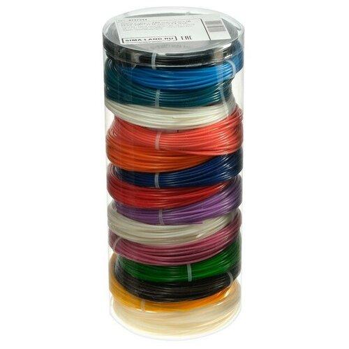 Пластик LuazON ABS-15, для 3Д ручки, 15 цветов по 10 метров, 4 трафарета