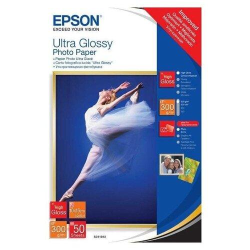 Фото - Epson C13S041943 Бумага Ultra Glossy Photo Paper, 10x15см, глянцевая, 300г/м2, 50 листов бумага epson a4 premium glossy photo paper c13s041624 255г м2 50 лист белый