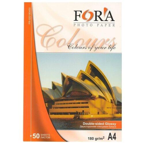 Фотобумага FORA двухсторонняя глянцевая 180гр. А4, 50 листов