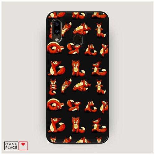 Чехол силиконовый Матовый Samsung Galaxy A20 Лисья йога