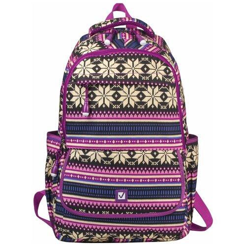 Фото - Рюкзак Brauberg Фиолетовые узоры, молодежный, канвас, 47х32х14 см рюкзак brauberg friendly молодежный горчично фиолетовый 37х26х13 см 270093