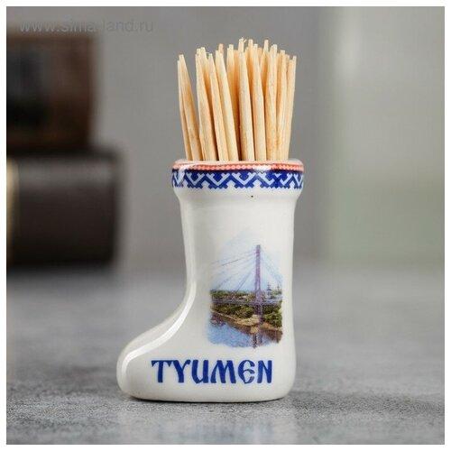 Сувенир для зубочисток керамика в форме валенка Тюмень 3,5 х 4 см