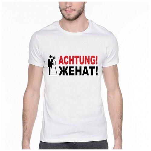 Фото - Футболка с надписью: Achtung! Женат!. Цвет: белый. Размер: XS футболка laredoute с надписью i said oui wesley 0 xs белый