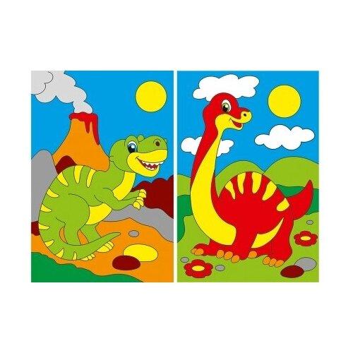 Купить Холст мини по номерам Веселые динозавры Рыжий Кот XM-0377/PK, Рыжий кот, Картины по номерам и контурам