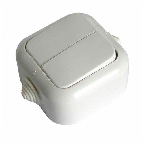 Выключатель SVET двухклавишный открытая установка белый IP44