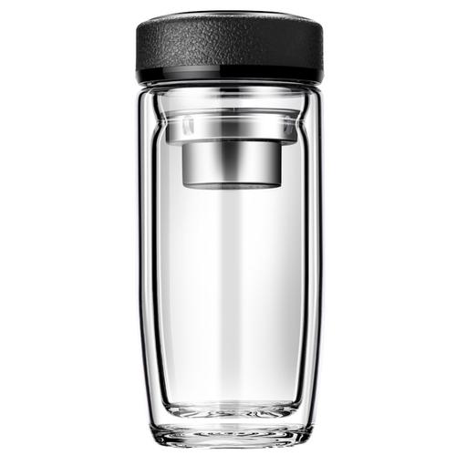 Двухслойная стеклянная чашка-термос боросиликатная MyPads M-BLB0001 элегантный и красивый подарок любимому мужу, жене, автолюбителю, сыну, брату, отцу, другу, в машину или в офис, на День Рождение, Новый год или 23 февраля