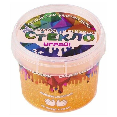 Слайм Стекло с неоновыми оранжевыми блестками, 100 гр, Слайм Стекло