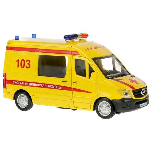 Модель машины Технопарк Mercedes-Benz Sprinter Реанимация, инерционная SРRINТЕRVАN-14АМВ-YЕ микроавтобус технопарк mercedes benz sprinter реанимация sprinter 22pl rean 22 см желтый