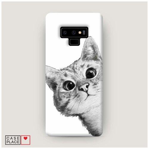 Чехол Пластиковый Samsung Galaxy Note 9 Кот рисунок черно-белый