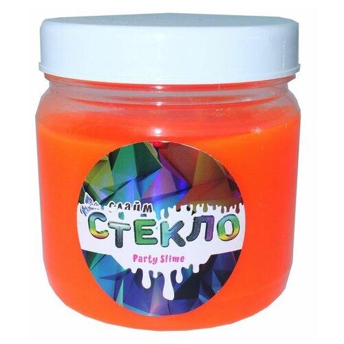 Слайм Стекло серия Party Slime, оранжевый неон, 400 гр, Слайм Стекло