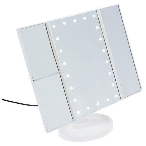 Зеркало LuazON KZ-07, подсветка, 30×18×7 см, 22 диода, 4хААА, сенсорная кнопка, белое 3531967