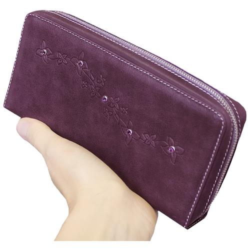 Кошелек портмоне женский на молнии кожа Мэри ВП-1 друид фиолетовый Kniksen