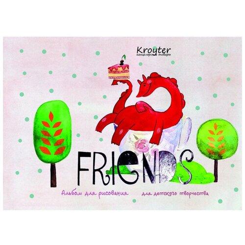 Альбом для рисования Kroyter 40л,А5,склейка,офсет 100гр,Друзья,тисн.фоль 4 штуки недорого