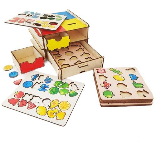 Деревянная развивающая логическая настольная игра Комодик «Фигуры и цвета» LivCity н00054