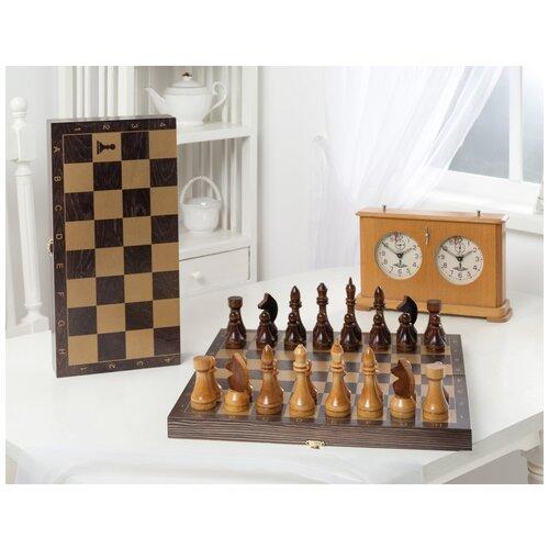 настольная игра шахматы гроссмейстерские с доской 43 21см ин 8976 Шахматы гроссмейстерские деревянные с венге доской, рисунок золото Объедовская фабрика игрушки 196-18