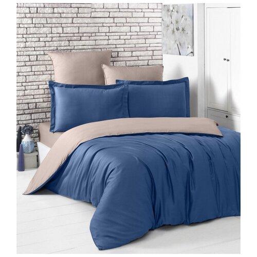 Комплект постельного белья евро (двухстороннее) LOFT (синий - капучино) комплект постельного белья karna евро сатин однотонный loft екрю 2986 char003