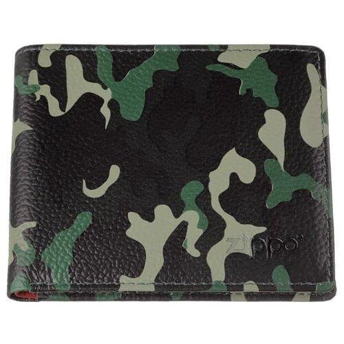 Фото - Zippo Портмоне ZIPPO, зелёно-чёрный камуфляж, натуральная кожа, 10,8?1,8?8,6 см портмоне zippo серо чёрный камуфляж натуральная кожа 11 2x2x8 2 см